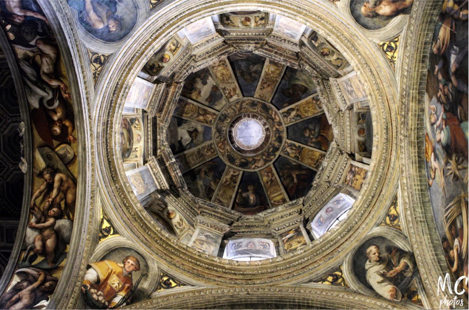 La cupola affrescata nella Basilica di Santa Maria di Campagna