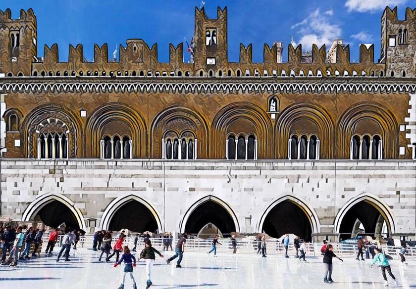 Un'ipotesi stilizzata di pista di pattinaggio sul ghiaccio davanti a Palazzo Gotico