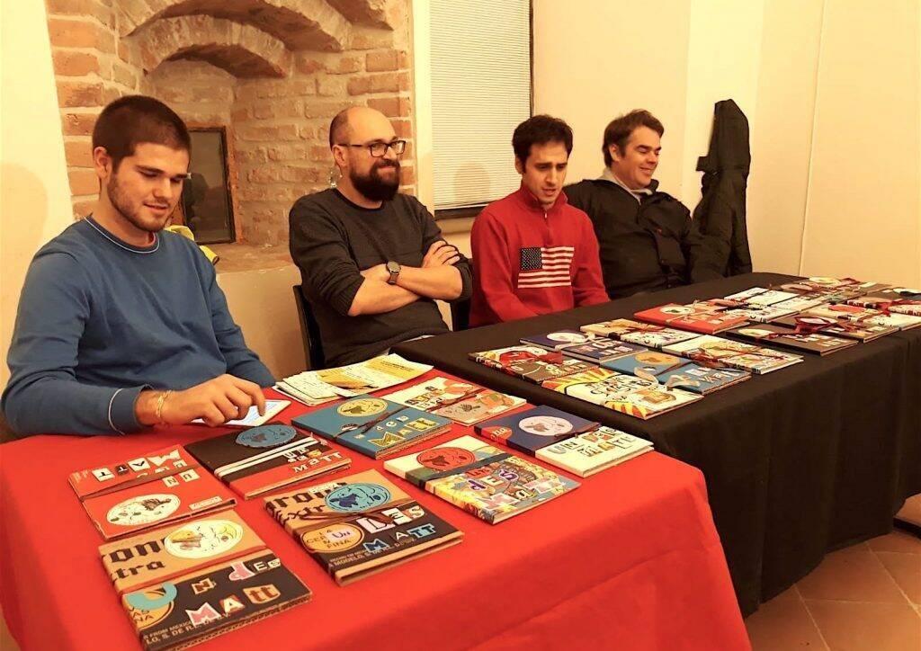 Da sinistra, il giornalista Thomas Trenchi, l'educatore Davide Corona, i co-autori Marco Cogni e Paolo Politi